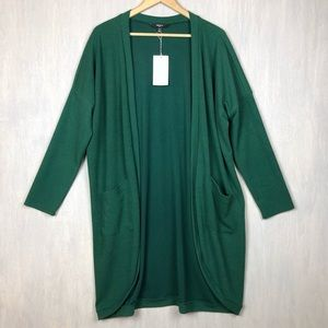 NWT Tresics duster cardigan ribbed green L